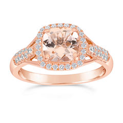 Womens 1/4 CT. T.W. Champagne Morganite 10K Gold Halo Ring