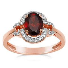 Womens Red Garnet Halo Ring