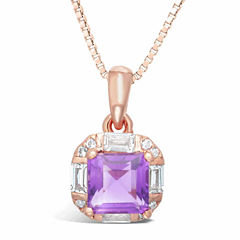 Womens Purple Amethyst Gold Over Silver Pendant Necklace