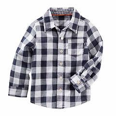 Oshkosh Boys Long Sleeve Navy Check T-Shirt-Toddler