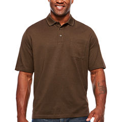 Van Heusen Short Sleeve Luxe Touch Stripe Polo Shirt- Big & Tall