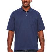 Van Heusen Short Sleeve Solid Knit Polo Shirt- Big & Tall