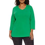 St. John`s Bay 3/4 Sleeve V Neck T-Shirt-Plus