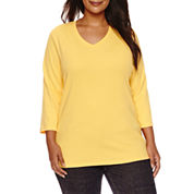 St. John`s Bay 3/4 Sleeve V Neck T-Shirt-Plus