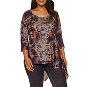 Unity 3/4 Sleeve World Wear Printed Tunic Top Plus