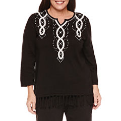 Alfred Dunner 3/4 Sleeve Split Crew Neck Pullover Sweater-Plus