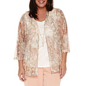 Alfred Dunner Just Peachy 3/4 Sleeve Layered Top Plus