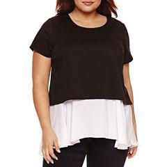 Boutique + Short Sleeve Scoop Neck T-Shirt-Womens Plus