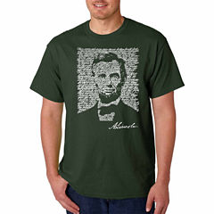 Los Angeles Pop Art Abraham Lincoln Short Sleeve Crew Neck T-Shirt-Big And Tall