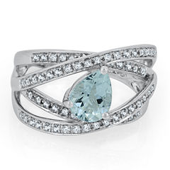 Womens Blue Aquamarine Sterling Silver Cocktail Ring