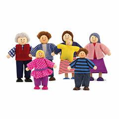 Melissa & Doug® 7-Piece Poseable Wooden Doll Family for Dollhouse