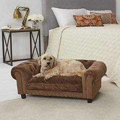 Enchanted Home Ultra Plush Melbourne Tufted Pet Sofa in Brown