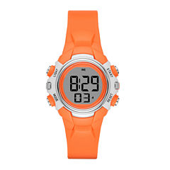 Womens Grey Case Orange Plastic Strap Digital Watch