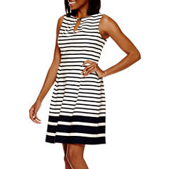 Liz Claiborne® Sleeveless Striped Fit-and-Flare Dress