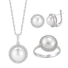 Genuine Freshwater Pearl and Genuine Topaz 3-pc. Jewelry Set