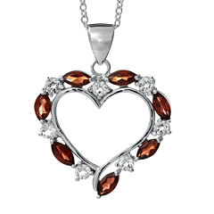Sterling Silver Genuine Garnet Heart Pendant Necklace