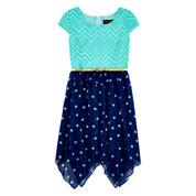 Disorderly Kids® Navy Cap-Sleeve Sharkbite Dress - Girls 7-16 and Plus