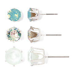 Sensitive Ears Green and White Crystal Stud 3-pr. Earring Set