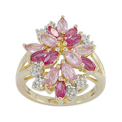 Lab-Created Ruby Pink & White Sapphire Flower Ringin 14K Gold over Silver