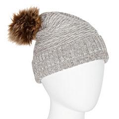 Manhattan Hat Company® Ribbed Bias Weave Faux Fur Pom Beanie