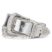 Mixit™ Glam Etch Buckle Silver Belt