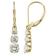 Cubic Zirconia Triple-Drop 14K Yellow Gold Earrings
