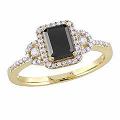 Midnight Black Womens 1 1/5 CT. T.W. Emerald Black Diamond 10K Gold Engagement Ring