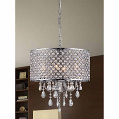 Warehouse Of Tiffany Oisetta 4 light Chrome FinishCrystal 17 Inch Round Chandelier