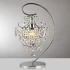 Warehouse Of Tiffany Unnie 1-light Chrome 24-inchCrystal Table Lamp