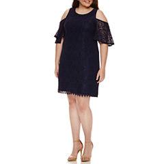 My Michelle Short Sleeve A-Line Dress-Juniors Plus Crochet Lace Cold Shoulder Dress
