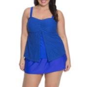 Aqua Couture Solid Bandeau Swimsuit Top or Swim Shorts-Plus