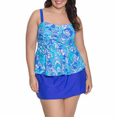 Aqua Couture Bandeau Swimsuit Top or Swim Skirt-Plus
