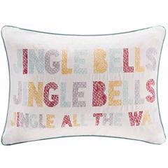 Madison Park Velvet Jingle Bells Square Throw Pillow