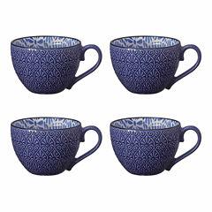 Pfaltzgraff Blue Peony Print Set of 4 Coffee Mugs