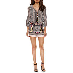 Bisou Bisou Long Sleeve Lace Up Romper