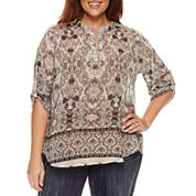 Unity World Wear 3/4 Sleeve V Neck Woven Mandarin Blouse-Plus