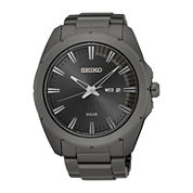 Seiko® Recraft Mens Gray Ion Stainless Steel Solar Bracelet Watch