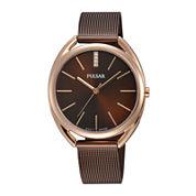 Pulsar® Womens Crystal-Accent Brown Mesh Bracelet Watch