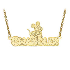 Disney Personalized Mickey Mouse Diamond Cut Name Necklace