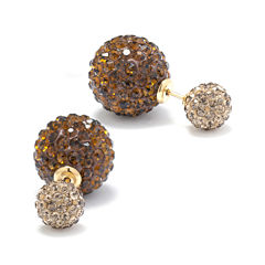 Champagne Crystal 14K Gold Over Sterling Silver Peek-A-Boo Stud Earrings