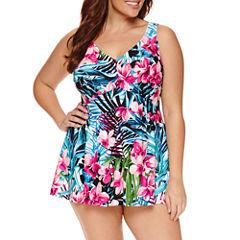 Le Cove Floral Swim Dress - Plus