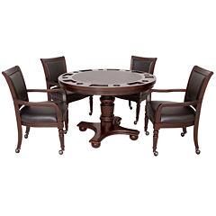 Hathaway Bridgeport 2-in-1 Poker Game Table Set - Walnut Finish