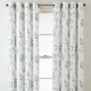 Curtains Ideas curtains jcpenney home collection : JCPenney Home Quinn Jacobean Grommet-Top Curtain Panel - JCPenney