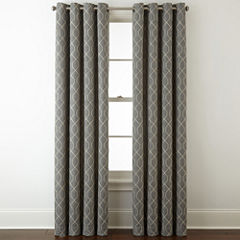 Home Expressions Pasadena Embroidery Blackout Grommet-Top Curtain Panel