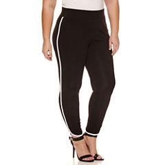 Boutique + Stripe Knit Leggings-Plus