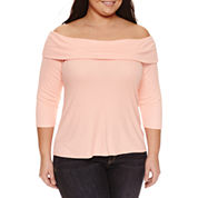 Belle + Sky 3/4 Sleeve Boat Neck T-Shirt-Plus