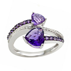 Sterling Silver Genuine Amethyst & Lab Created White Sapphire Shades Double Heart Ring