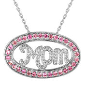 "Lab-Created Pink Sapphire and Diamond-Accent ""Mom"" Pendant Necklace"