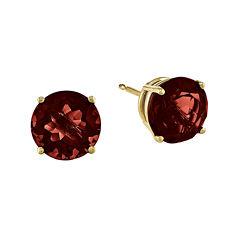 Genuine Red Garnet 14K Yellow Gold Round Earrings