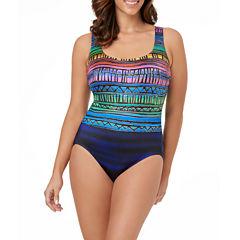 LeCove Multi Striped Double X Back Swimsuit